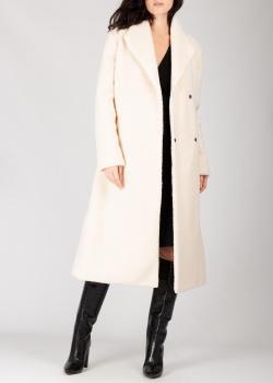 Белое пальто Pinko из искусственного меха с поясом, фото