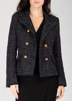 Короткое пальто Pinko синего цвета с люрексом, фото