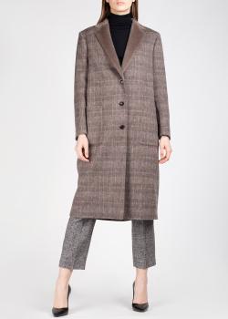 Однобортное пальто Agnona коричневого цвета в клетку, фото