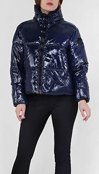 Лаковая куртка Twin-Set синего цвета , фото