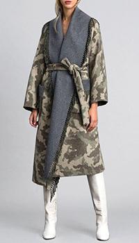 Камуфляжное пальто-халат Twin-Set из двустороннего сукна, фото