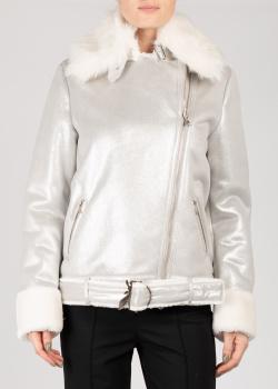 Серебристая куртка Patrizia Pepe с меховым воротником, фото
