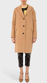 Бежевое пальто Kenzo на пуговицах из кашемира, фото