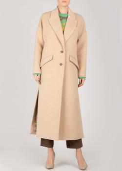 Бежевое пальто Patrizia Pepe с разрезами, фото