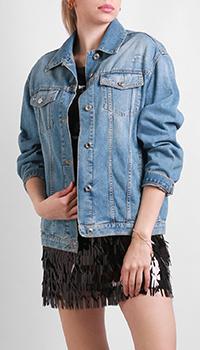 Джинсовая куртка Ermanno Ermanno Scervino с надписью на спине, фото