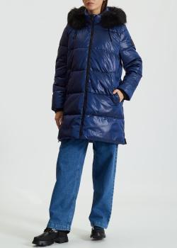 Женский пуховик DKNY синего цвета, фото