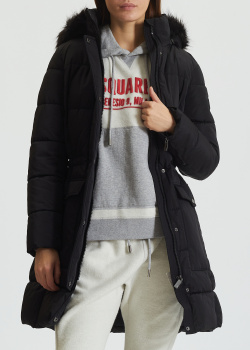 Черный пуховик DKNY с капюшоном, фото