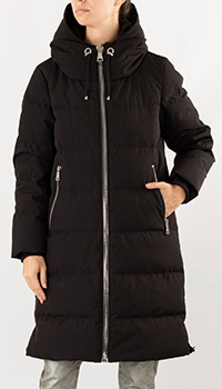 Пуховик DKNY черного цвета с капюшоном, фото