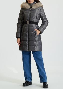 Пуховик DKNY серый с поясом, фото
