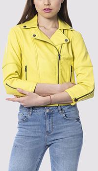 Желтая куртка Silvian Heach с молнией на рукавах, фото