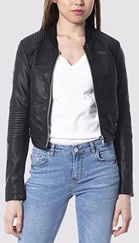 Черная укороченная куртка Silvian Heach из экокожи, фото
