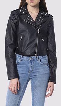 Черная куртка-косуха Silvian Heach с декором на воротнике, фото