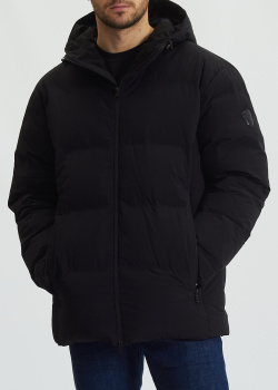 Черный пуховик Ea7 Emporio Armani с карманами на молнии, фото