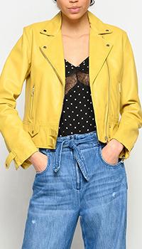 Куртка Pinko из кожи желтого цвета, фото