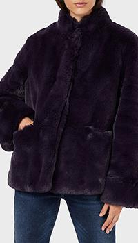 Темно-фиолетовая шуба Emporio Armani из экомеха, фото