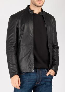 Кожаная куртка Emporio Armani с прорезными карманами, фото