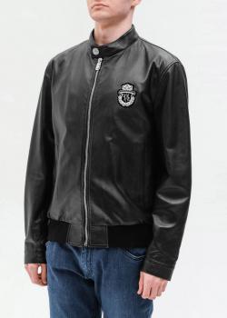 Кожаная куртка Billionaire с брендовой нашивкой, фото