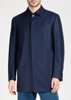 Синее пальто Brioni с узором в елочку, фото