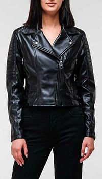 Черная куртка-косуха Calvin Klein из экокожи, фото