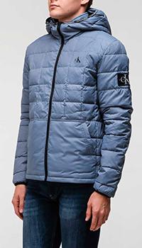 Голубая куртка Calvin Klein с геометрической стежкой, фото