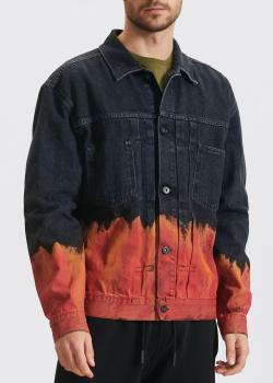 Джинсовая курткам Marcelo Burlon с принтом в виде огня, фото