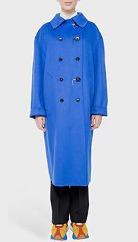 Длинное пальто Marni Double синее, фото