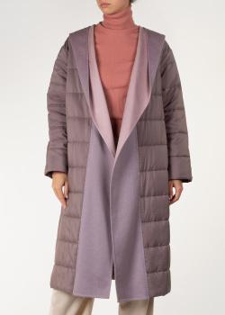 Лиловое пальто Agnona с капюшоном, фото