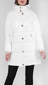 Белое пальто Cavalli Class с животным принтом, фото