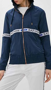 Синяя куртка Ea7 Emporio Armani с капюшопом, фото