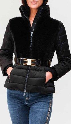 Черная куртка Elisabetta Franchi с высоким воротником, фото