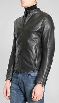 Черная кожаная куртка Emporio Armani с молнией на манжете, фото