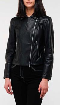 Куртка Emporio Armani из черной кожи, фото