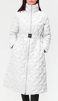 Белый пуховик Emporio Armani с фигурной стежкой, фото
