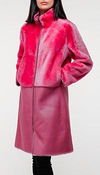 Утепленное женское пальто Emporio Armani розового цвета, фото