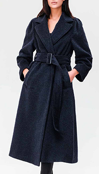 Синее пальто Emporio Armani с узором шеврон, фото