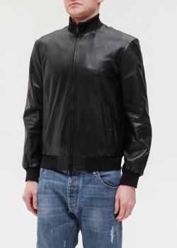 Черная кожаная куртка Emporio Armani с высоким воротником, фото