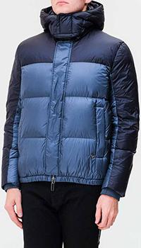 Стеганый пуховик Emporio Armani синего цвета, фото
