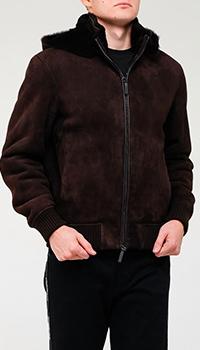 Мужская кожаная дубленка Emporio Armani темно-коричневого цвета, фото