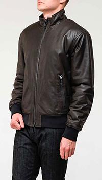 Мужская куртка из кожи Emporio Armani с манжетами, фото