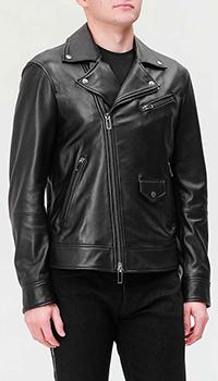Кожаная куртка Emporio Armani в черном цвете, фото