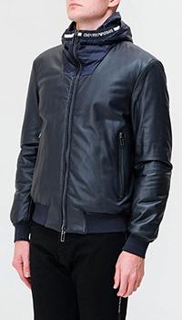 Кожаная двухсторонняя куртка Emporio Armani с капюшоном, фото