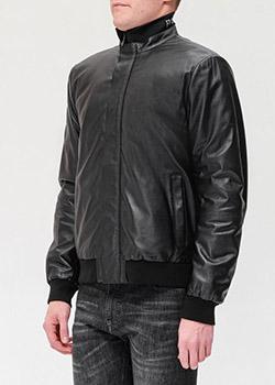 Черная кожаная куртка Emporio Armani с логотипом, фото