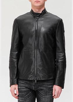 Кожаная куртка Emporio Armani черного цвета, фото