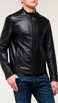 Мужской кожаный бомбер Emporio Armani черного цвета, фото