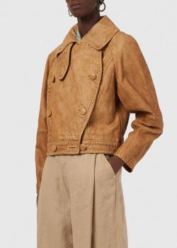 Кожаная куртка Emporio Armani с двубортной застежкой, фото