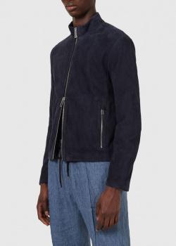 Замшевая куртка Emporio Armani темно-синего цвета, фото