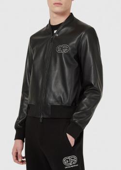Кожаная куртка Emporio Armani с вышивкой-лого, фото