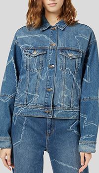 Джинсовая куртка Emporio Armani с брендовым принтом, фото