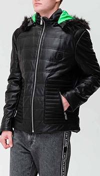 Кожаная куртка Frankie Morello с капюшоном, фото