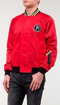 Красный бомбер Frankie Morello с принтом на спине, фото